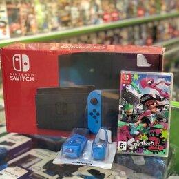 Игровые приставки - Nintendo Switch + Splatoon 2 и силиконовые насадки, 0