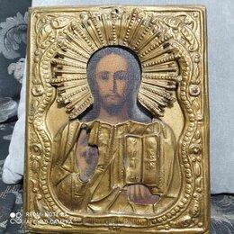 Иконы - Старинная икона в латунном окладе господь вседержитель, 0