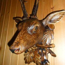 Рукоделие, поделки и сопутствующие товары - Резьба по дереву голова оленя, 0