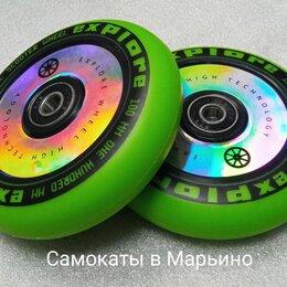 Аксессуары и запчасти - Колесо 100мм для самоката трюкового,зелёно-серебристое, 0