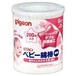 Ватные палочки и диски - Pigeon Ватные палочки детские 100% хлопок с тонким стержнем с рождения 200шт, 0