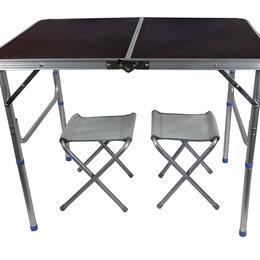 Походная мебель - Стол Туристический арт 8812 р-р: 90*60 + 2 стула, цвет: коричневый, 0