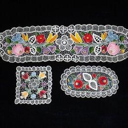 Скатерти и салфетки - Салфетки венгерское кружево, цветная вышивка., 0