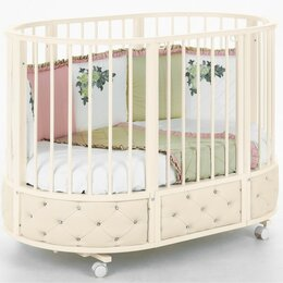 Кроватки - Круглая кроватка-трансформер VIP слоновая кость, 0
