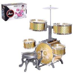 Ударные установки и инструменты - Барабанная установка «Большой музыкант», со стульчиком, цвет жёлтый, 0