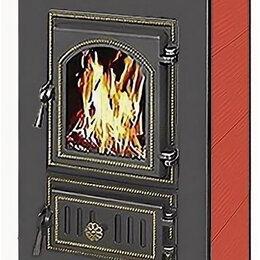 Камины и печи - Печь - камин Везувий ПК - 01 красный с плитой 9 кВт дверка 270, 0