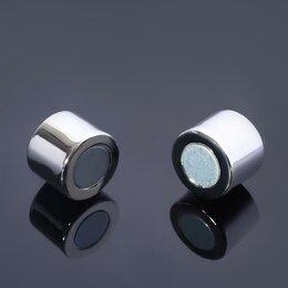 Аксессуары - Замок-концевик магнитный, L=25мм, вн.D=15мм, (набор 2шт), цвет серебро, 0