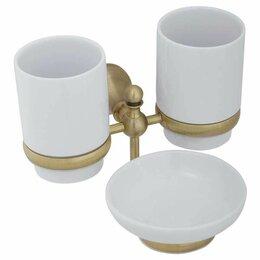 Мыльницы, стаканы и дозаторы - Veragio Стакан двойной с мыльницей Veragio Gialetta VR GIL - 6443 BR настенны..., 0