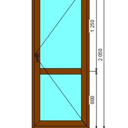 Входные двери - Дверь из оконного профиля каширована с одной стороны, 0