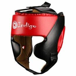 Аксессуары и принадлежности - Шлем боксерский тренировочный INDIGO PU 250046 Черно-красный, 0