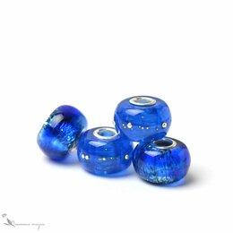 Браслеты - Шармы Яркий синий кобальт лэмпворк стекло серебро, 0
