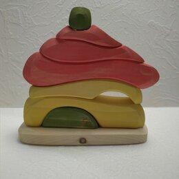 Развивающие игрушки - Деревянная игрушка пирамидка домик, 0