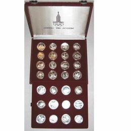 Монеты - Набор монет олимпиада 80 серебро 28 монет в коробке, 0