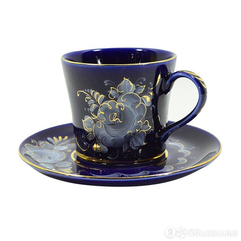 Чайные пары, чашки Гжельский фарфоровый завод Чайная пара Наталья кобальт кра... по цене 740₽ - Посуда, фото 0