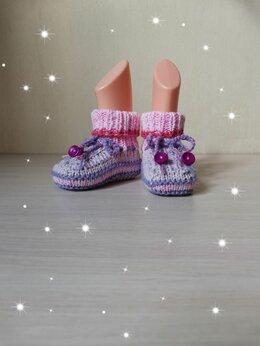 Носки - Вязаные детские Пинетки-Носочки (ручной работы) , 0
