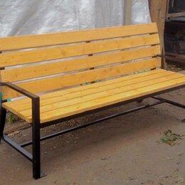 Скамейки - Скамейка деревянная со спинкой из профильной трубы, 0