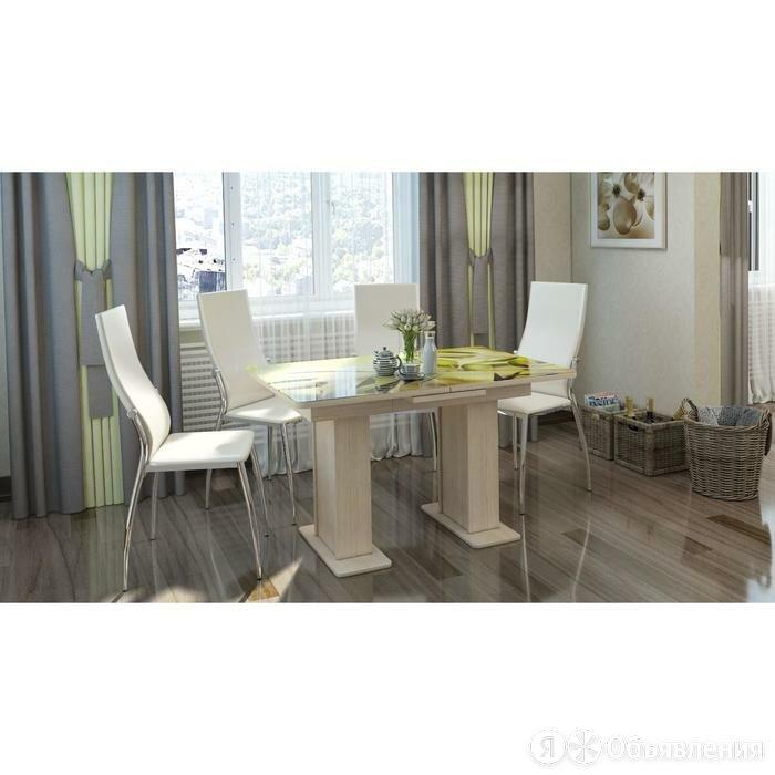 Стол «Дуэт», раздвижной, 1200(1500) × 800 × 760, стекло, цвет белённый дуб/84... по цене 20043₽ - Столы и столики, фото 0
