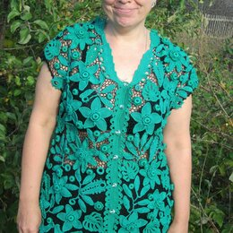 Блузки и кофточки - Изумрудная кофточка ирландским кружевом, 0