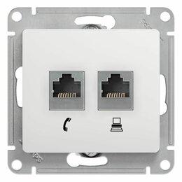 Электроустановочные изделия - Schneider GSL000185 Розетка Glossa двойная RJ11+RJ45 (белый, 0