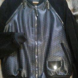 Куртки - Черная кожа, замш комбинированная куртка, 0
