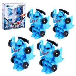 Роботы и трансформеры - Робот «Автороботы», 4 штуки, трансформируются, цвет голубой, 0