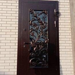 Входные двери - Двери входные ЦВЕТЫ кованная остеклённая на заказ , 0