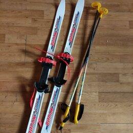 Беговые лыжи - Беговые лыжи детские пластиковые с палками., 0