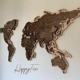 Картины, постеры, гобелены, панно - Деревянная карта мира в наличии с гравировкой стран, столиц и гидрографии рек, 0