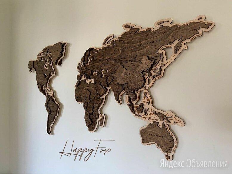 Деревянная карта мира с гравировкой стран, столиц и гидрографии рек по цене 19500₽ - Картины, постеры, гобелены, панно, фото 0