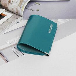 Обложки для документов - Обложка для паспорта, глянцевая, тиснение, чёрный, 0