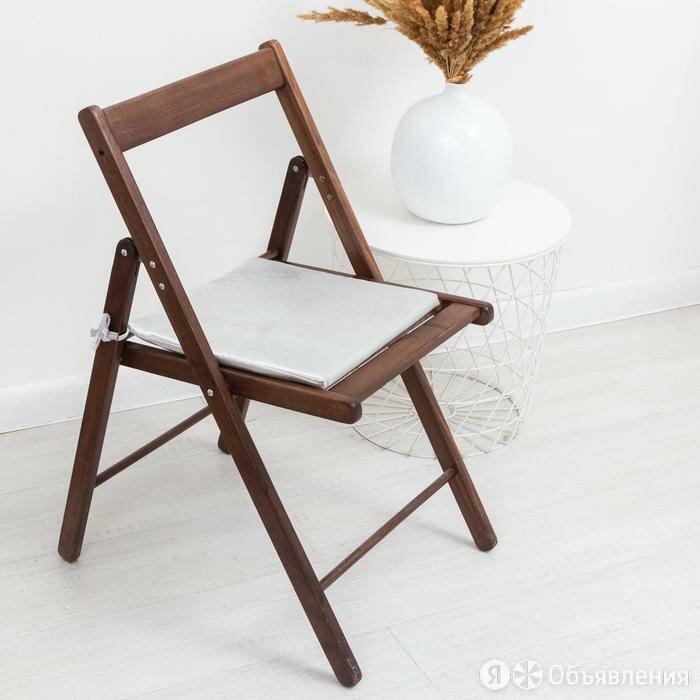 Сидушка на стул блэкаут с тисн листья 34х34х1,5см серебро пэ100% по цене 363₽ - Декоративные подушки, фото 0