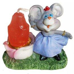 Декоративные свечи - Подставка под свечу + свеча Мышонок ассорти 1053 1, 0