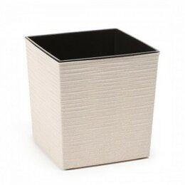 Комнатные растения - Кашпо пластиковое ЭКО Юкка белый мрамор, 0