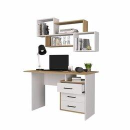 Компьютерные и письменные столы - Лайт стол компьютерный (белый/дуб золотой) с полкой., 0