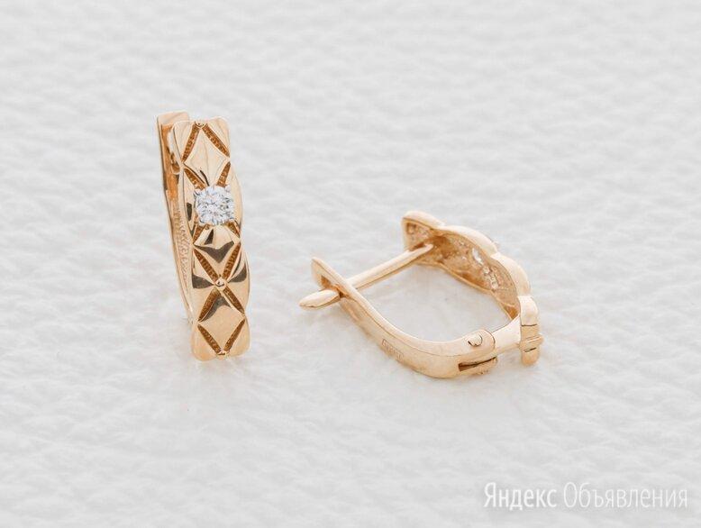 Серьги с 2 бриллиантами из красного золота по цене 32918₽ - Серьги, фото 0