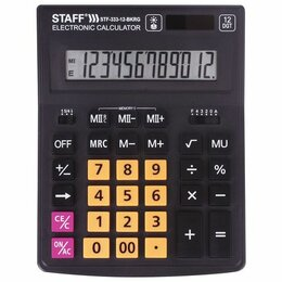 Калькуляторы - Калькулятор  настольный  STAFF PLUS  STF-333-BKRG 12 раз. (000) 200*154мм, черно, 0