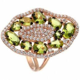 Кольца и перстни - Element47 кольцо красное серебро вес 5,21 вставка перидот, фианит арт. 743794, 0