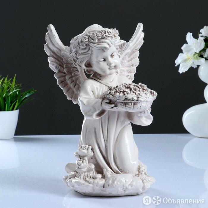 Фигура 'Ангел с чашей цветов' состаренный 18х19х31см по цене 892₽ - Новогодние фигурки и сувениры, фото 0