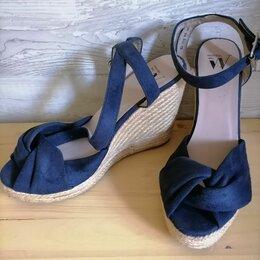 Босоножки - Голубые замшевые босоножки на платформе женские , 0
