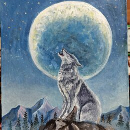 Картины, постеры, гобелены, панно - Картина маслом. Одинокий волк. Холст на ДВП 30х40, 0