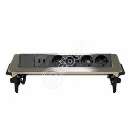 Электроустановочные изделия - Блок розеток выдвижной горизонтальный 47, 4 розетки, 2 USB, металлик, 0