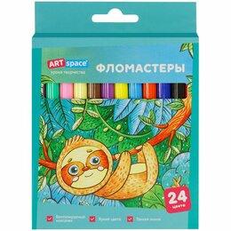 Письменные и чертежные принадлежности - Фломастеры  24цв  ArtSpace  Милые зверушки, смываемые, карт/уп (12), 0