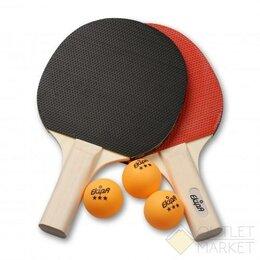 Ракетки - Набор для настольного тенниса EKIPA 0 звезд (2 ракетки, 3 шарика) EK07, 0