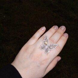 Кольца и перстни - Кольцо бабочка Сверкающая Камень Цирконий Безразмерное Серебряное., 0