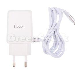 Прочие запасные части - СЗУ HOCO C82A Real power (2-USB/2.4A) + встроенный micro USB кабель (белый), 0