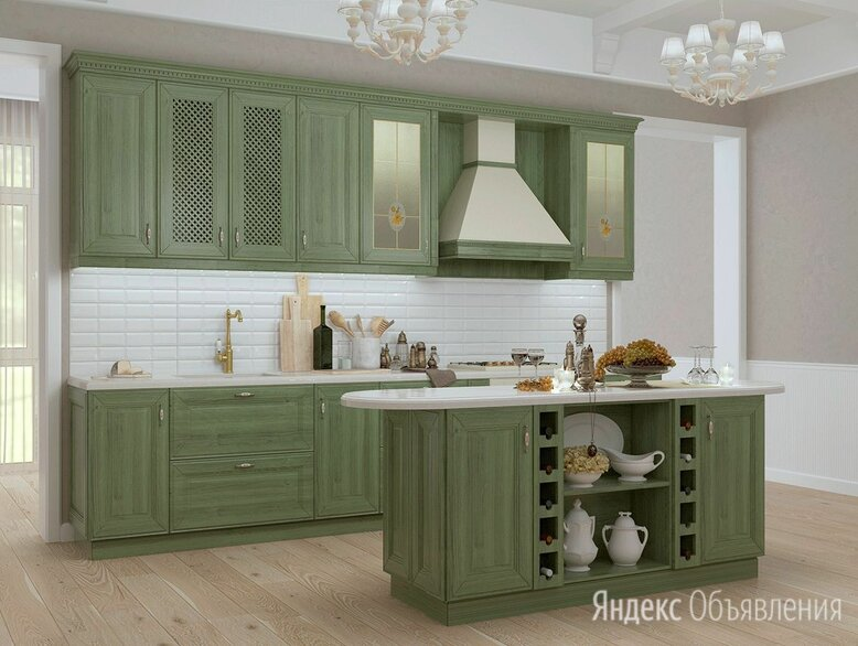 Деревянная зеленая кухня по цене 49400₽ - Кухонные гарнитуры, фото 0