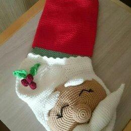 Новогодний декор и аксессуары - Новогодние носки для подарков крючком, 0