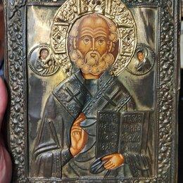 Иконы - икона Николай Чудотворец, латунный оклад, подарочная , 0