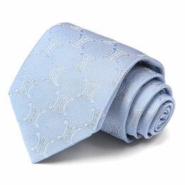 Галстуки и бабочки - Голубой жаккардовый галстук с логотипами Celine 63559, 0