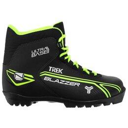 Ботинки - Ботинки лыжные TREK Blazzer1 NNN, цвет чёрный, лого лайм неон, размер 35, 0